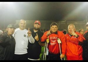 The 2014 Oak Hills (Hesperia, CA) staff celebrating the school's first League Championship.  L-R - Coach Lozano, Coach Locklear, Coach Notarianni, Head Coach Kistner, Coach Metzger, Coach Fore. (Not pictured: Coach Wadood)